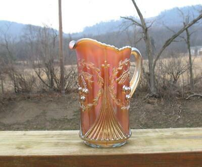 "Dugan ""Wreath Cherry"" Marigold Carnival Glass Tankard Water Pitcher"