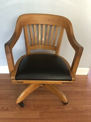 Gunlocke Antique Swivel Bankers Chair Vintage Lawyer Doctor Leather Office Seat