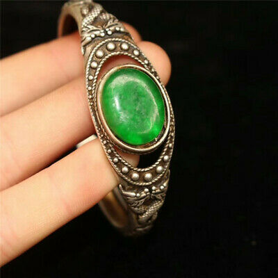Collect Old Chinese Tibetan silver carved Dragon inlay greenstone jade Bracelet