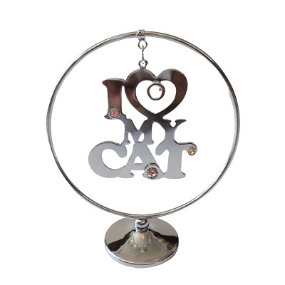 Crystal Crystocraft I Love My Cat Ornament With Swarovski Elements (with Box)