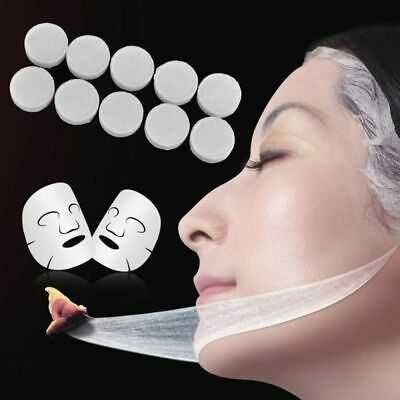 100x Natural Compressed Facial Mask Paper  Cotton Sheet Skin Care