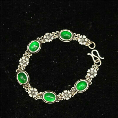 Collect Old Chinese Tibetan silver carved Flower inlay greenstone jade Bracelet