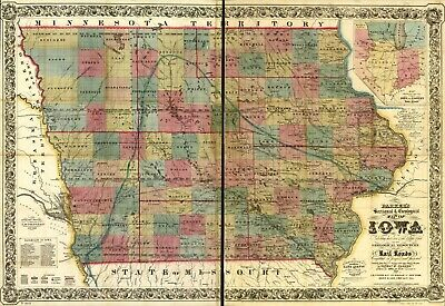 """16"""" x 24"""" 1856 Railroad map Mines & mineral resources, Iowa Parkers sectiona"""