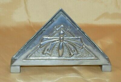 Antique Arts & Crafts Jugendstil Hammer Beaten Pewter Butterfly Desk Letter Rack