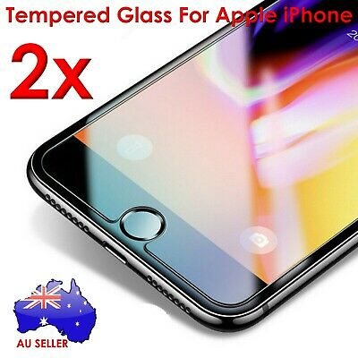 New 2x For iPhone X iPhone 8 Plus iPhone 7 Plus Screen Protector Tempered Glass