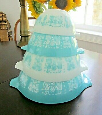 Vtg PYREX Amish Butterprint Blue Nesting Cinderella 4 Piece Mixing Bowl Set