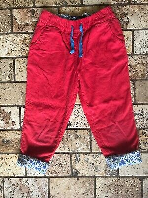 Mini Boden Girls Red Jersey Lined Corduroy Pants 4 Years EUC