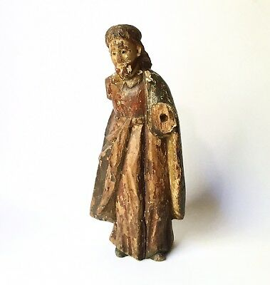 Antique 18th-19th C. Spanish Colonial ? Carved Wood Santos Figure of Jesus 10""