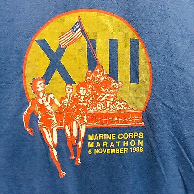 Marine Corps USMC Marathon 1988 Velva Sheen Single Stitch T-Shirt Mens Large VTG