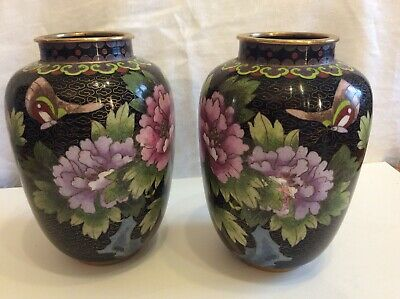 A Pair Chinese Cloisonne Vases Butterfly Chrysanthemum 14 Cm Vintage