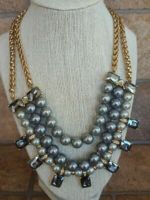 TALBOTS - Triple Strand, Gold Tone, Crystal, Grey Pearl Bead Necklace