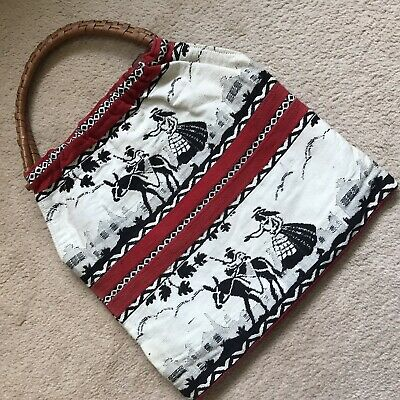 Unique Rare Vintage Knitting Sewing Kit Bag Red White Black Raffia Wooden Handle