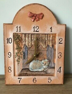 Junghans Quartz - Ceramic Kitchen Wall Clock - Cat In Windowsill - Vgc