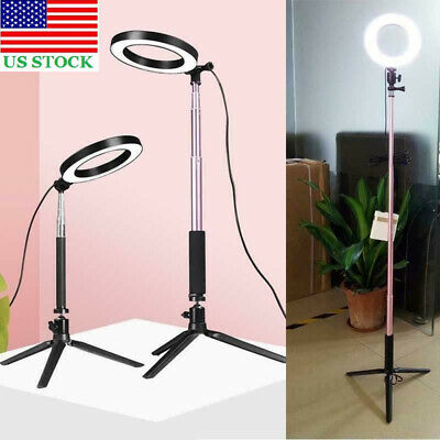 "6"" Studio Ring Fill Light LED Selfie Photo Camera Film Tripod USB+Phone Clip USA"
