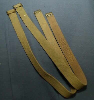 Canadian Army 37 Pattern Webbing P37 Long Straps Pair Grade 2 Cond Blanco Paint