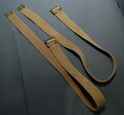 Canadian Army 37 Pattern Webbing P37 Long Straps Pair Grade3 Cond Faded Worn