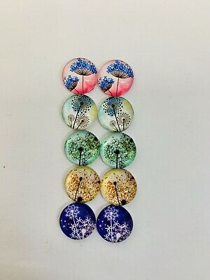 5 Pairs Of 12mm Glass Cabochons #574