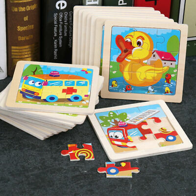 Kids Baby Educational Puzzles Toys Wooden Puzzle Cartoon Animal Learning Gifts