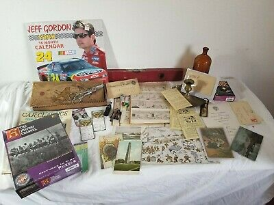 Large MIXED ESTATE Vintage JUNK DRAWER LOT RED SOX Army Navy Postcards Comics ++