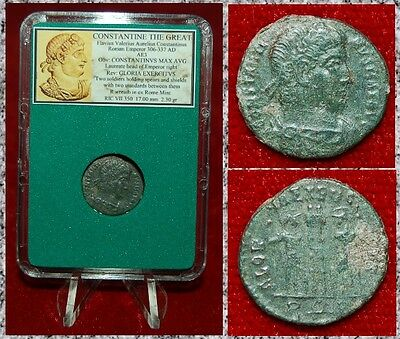 Ancient Roman Empire Coin Of CONSTANTINE THE GREAT Two Soldiers And Standards