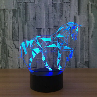 3D Horse Lamp 7 Color LED Visual Night Light Touch Bottom Home Decor Gift