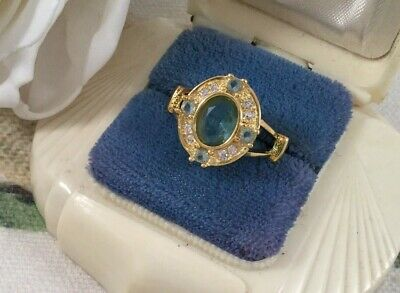 Vintage Jewellery Gold Ring with Aquamarines Antique Art Deco Jewelry size 7 O