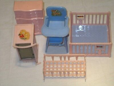 RENWAL five piece  MID-CENTURY  Dollhouse Miniatures  THE BABY'S ROOM  furniture