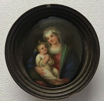 Antique Early 20th century miniature painting religious portrait Madonna