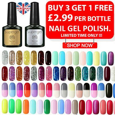 Supergel Polish UV LED Colour Glitter Base Top Coat Soak Off Gel Nail Polish UK