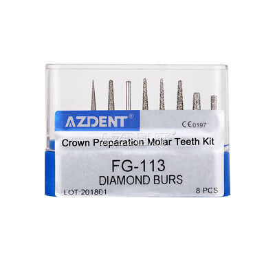 AZDENT Dental Diamond Burs Crown Preparation Molar Teeth Kit FG-113