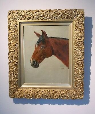 Original Antique 19th Century Oil Painting Horse Head Portrait Monogrammed
