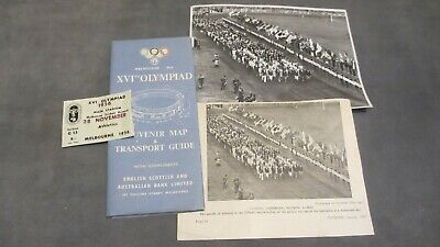 1956 Melbourne XVIth Olympiad Souvenir Map MCG Ticket & Marching Photo From Age