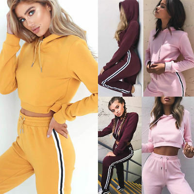 Women Hooded Sweatshirt Cropped Tops Pants Hoodies Tracksuit Sports Casual Suit