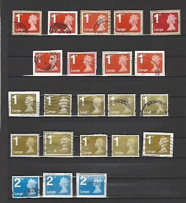 Gb 1St & 2Nd Class Large Used Not Unfranked Stamps