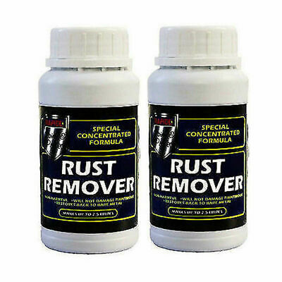 2 x Concentrated Rust Remover Liquid Solution Removes Metal Makes up to 2L New