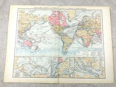 1895 World Map of The British Empire Steam Ship Routes Line Antique 19th Century