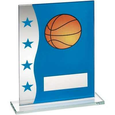Blue Silver Printed Glass Plaque Basketball Trophy Award 7.25in FREE Engraving