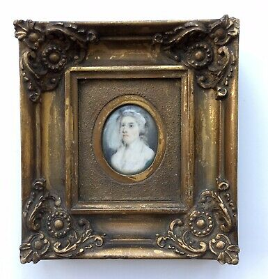 Late 18th Century Framed Antique Miniature Painting Portrait of a Georgian Lady