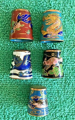Set of 5 Oriental Style Champleve Metal Enamel Thimbles, Dragons, Birds & Fish