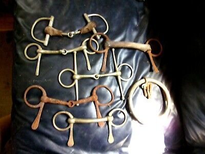 Lot Of 7 Vintage Antique Horse Snaffle, and one unusual Chiffney  Bits