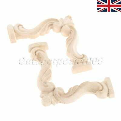 Woodcarving Corner Decal Applique Onlay Furniture Home Decoration Unpainted UK