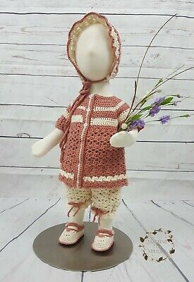 Baby Girl Jacket Pants Outfit Shower Gift Set Present Crochet Knitted Handmade