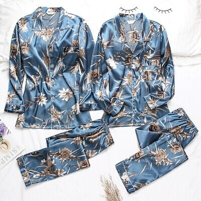 Women Mens Silk Satin Pajama Set Couples Long Sleeve Sleepwear Homewear Robes Pj