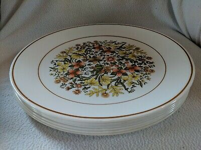 "Set of 7 Corelle Corning Ware ""Indian Summer"" Dinner Plates 10 1/4"""