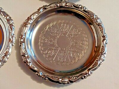 Vintage Embossed Silver Plated EP On Steel Coaster - Made In Italy - 2 Left!