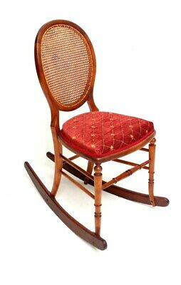 Antique Victorian Beech Cane Back Rocking Chair - FREE Shipping [5397]