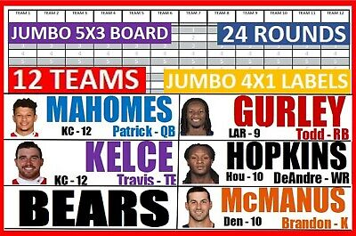 2019 Fantasy Football Draft Kit 5 X 3 Board 4 X 1 JUMBO Color Photo Labels Rooks
