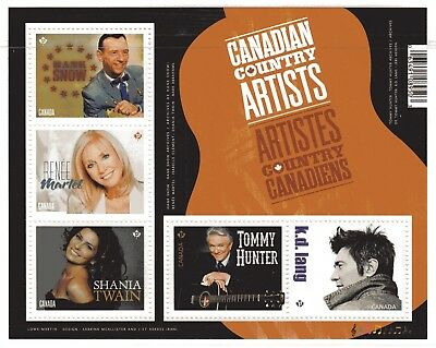 2014 Canada SC# 2765 Canadian Country Artists - Souvenir Sheet Lot 103 M-NH