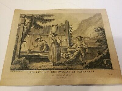 Vintage French Art Print Etienne Fessard Peasant And Peasant Clothing Very Old