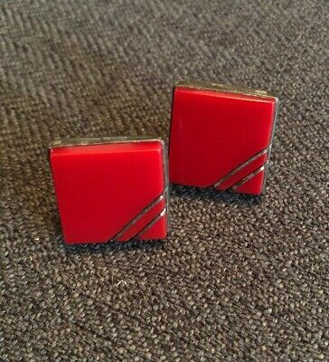 Vintage MCM Sterling Silver Red Glass Abstract Artisan Mexico Taxco Cufflinks